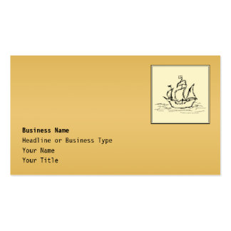 Tall Sailing Ship. Yellowy Tan Color Surround. Business Card
