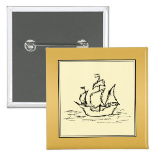 Tall Sailing Ship Yellowy Tan Color Surround Buttons