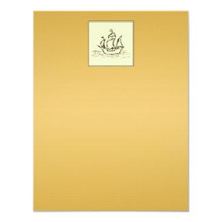 Tall Sailing Ship. Yellowy Tan Color Surround. 4.25x5.5 Paper Invitation Card