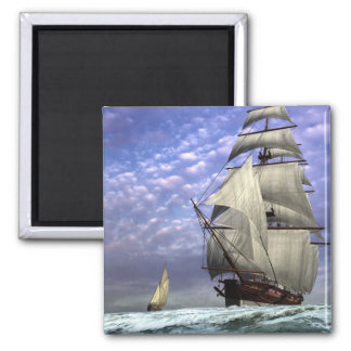 Tall Ship and Ketch 2 Inch Square Magnet