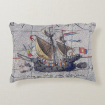 Tall Ship and Map of Pacific Ocean Accent Pillow
