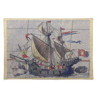 Tall Ship and Map of Pacific Ocean Placemat
