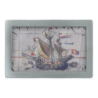 Tall Ship and Map of Pacific Ocean Rectangular Belt Buckle