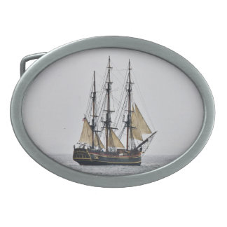 Tall Ship belt buckle oval