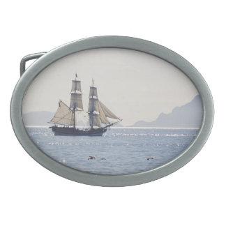 Tall Ship belt buckle oval