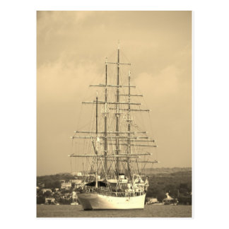 Tall ship entering Mahon sepia Postcard