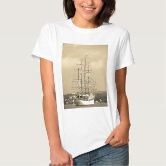 Tall ship entering Mahon sepia T-shirts