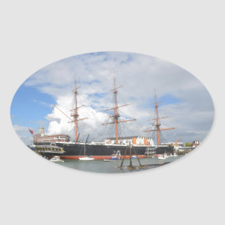 Tall Ship HMS Warrior Oval Sticker