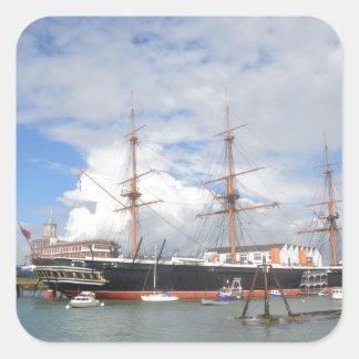 Tall Ship HMS Warrior Square Sticker