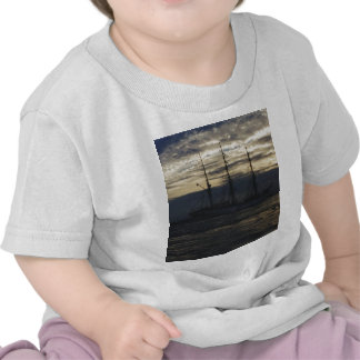 Tall ship in the evening t shirts