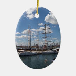 Tall Ship In The Port Of  Varna Ceramic Ornament