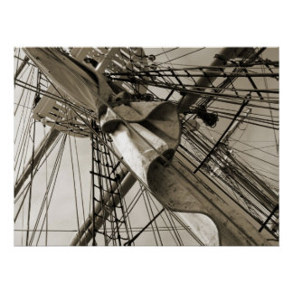 Tall Ship Mast & Sail Poster