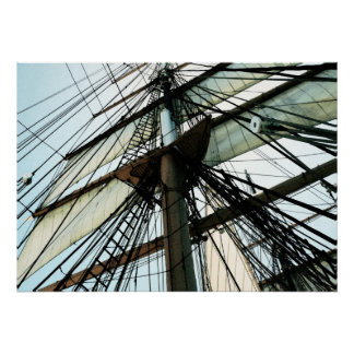 Tall Ship Mast & Sails Poster