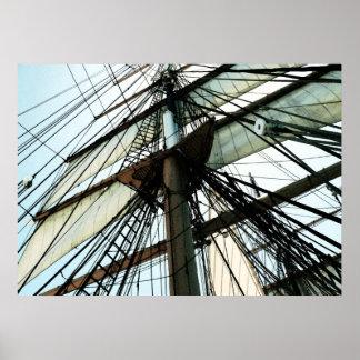 Tall Ship Mast & Sails Poster