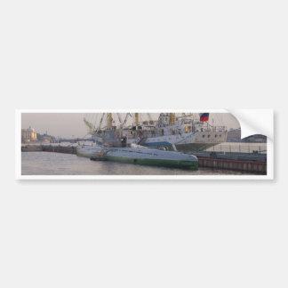 Tall Ship Mir And Submarine Bumper Sticker