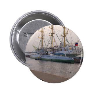 Tall Ship Mir And Submarine Pinback Button