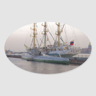 Tall Ship Mir And Submarine Oval Sticker