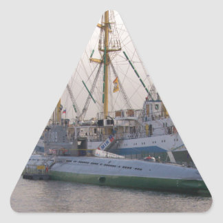 Tall Ship Mir And Submarine Triangle Sticker