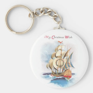 Tall Ship on the High Seas Vintage Christmas Basic Round Button Keychain