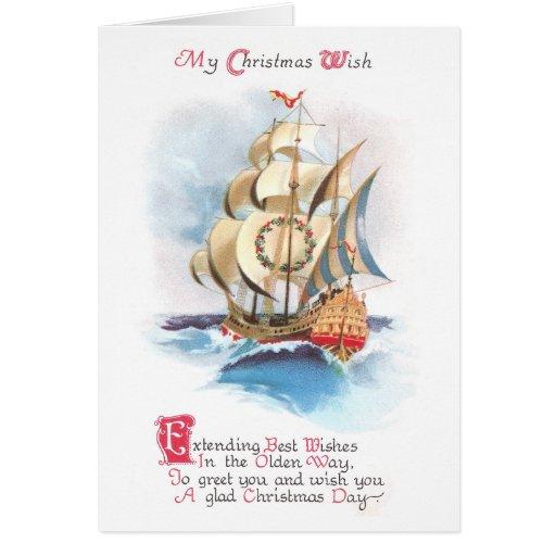 Tall Ship on the High Seas Vintage Christmas Greeting Card