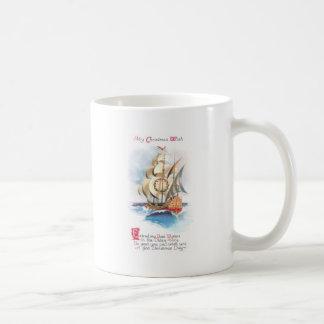 Tall Ship on the High Seas Vintage Christmas Coffee Mug
