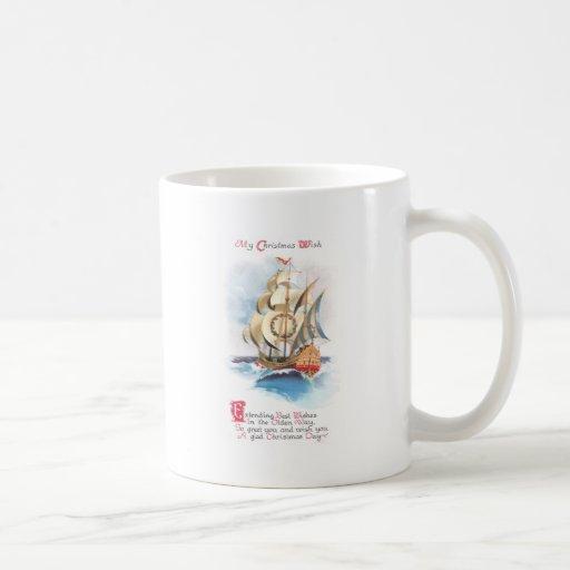 Tall Ship on the High Seas Vintage Christmas Coffee Mugs