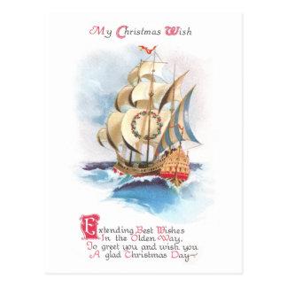 Tall Ship on the High Seas Vintage Christmas Postcard