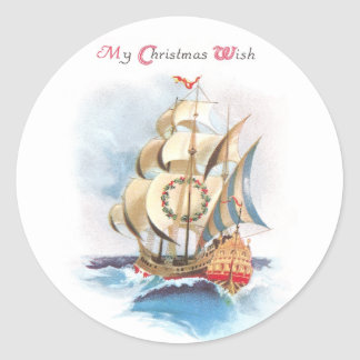 Tall Ship on the High Seas Vintage Christmas Stickers