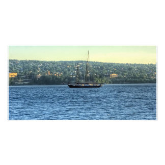 Tall Ship on the Lake Personalized Photo Card
