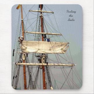 Tall Ship Seamen Furl the Sails Mousepad