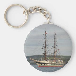 Tall ship Stavros S Niarchos. Basic Round Button Keychain