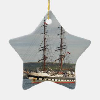 Tall ship Stavros S Niarchos. Double-Sided Star Ceramic Christmas Ornament