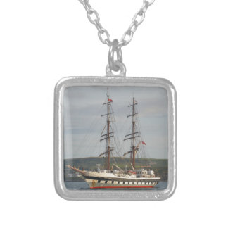 Tall ship Stavros S Niarchos. Silver Plated Necklace