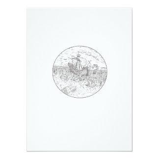 Tall Ship Turbulent Sea Serpents Black and White D Card