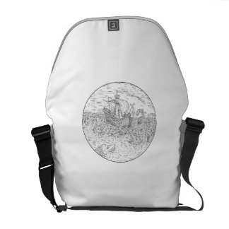 Tall Ship Turbulent Sea Serpents Black and White D Courier Bag