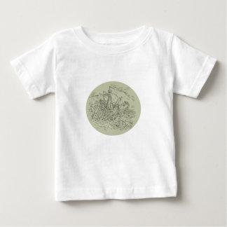Tall Ship Turbulent Sea Serpents Oval Drawing Baby T-Shirt