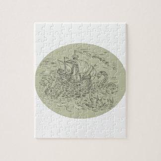 Tall Ship Turbulent Sea Serpents Oval Drawing Jigsaw Puzzle
