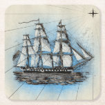 """Tall Ship Vintage Nautical Illustration Square Paper Coaster<br><div class=""""desc"""">A vintage design featuring a tall clipper ship illustration in shades of blue,  white,  and black that would be a great addition for your nautical decor.</div>"""