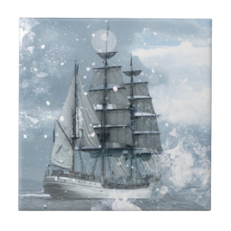 Tall ship vintage winter snow design tile