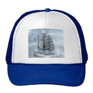 Tall ship vintage winter snow design trucker hat