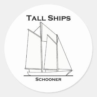Tall Ships Gaff-Rigged Schooner (sail plan) Classic Round Sticker