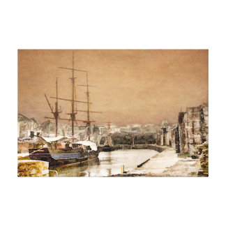 TALL SHIPS IN OILS  AT CHARLESTOWN CORNWALL CANVAS
