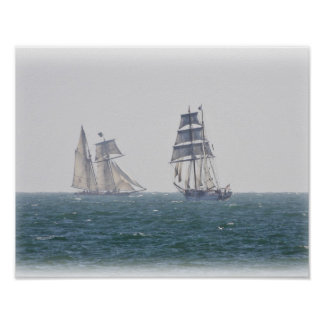 Tall ships Lynx and Irving Johnson poster