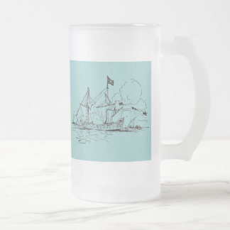 Tall Ships 16 Oz Frosted Glass Beer Mug