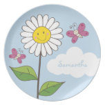 Tall Smiling Daisy & Butterflies with Name Melamine Plate