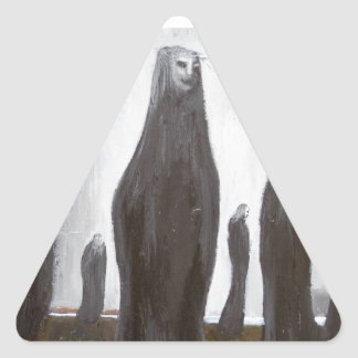 Tall Soldiers (black and white surrealism) Triangle Sticker