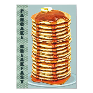 Tall Stack of Pancakes with Calico Trim Breakfast Card