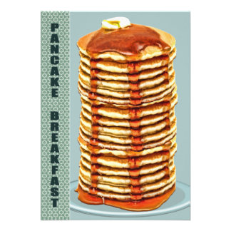 Tall Stack of Pancakes with Calico Trim Breakfast Custom Invites