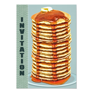Tall Stack of Pancakes with Calico Trim Invitation