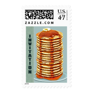 Tall Stack of Pancakes with Calico Trim Invitation Postage